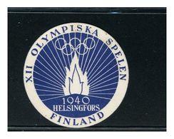 FINLANDIA 1940 - XII GIOCHI OLIMPICI HELSINGFORS    -  VIGNETTA CINDERELLA   Lusso - Sommer 1952: Helsinki