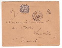 """Lettre Non Affranchie Nancy > Receveur Des Postes TAXE 30c Noir Banderole Refusé """"concerne Le Service"""" (= Détaxe) 1894 - Taxes"""