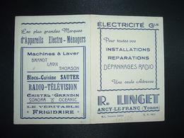 CALENDRIER DE POCHE 1957 R. LINGET ANCY LE FRANC (Yonne) (89) ELECTRICITE RADIO TELEVISION - Calendriers