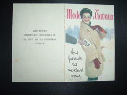 CALENDRIER DE POCHE 1958 MODES & TRAVAUX EDITIONS EDOUARD BOUCHERIT PARIS - Calendriers
