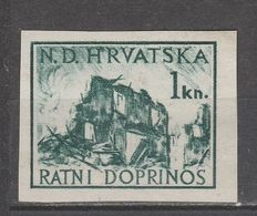 ☀ NDH Croatia Kroatien 1944 War Aid 1 Kn - IMPERFORATED GENUINE Stamp,ww2 Puppet Axis,tax H House In Ruins - Kroatien
