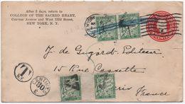 Entier Postal USA 1925 Taxe Paire 45c Vert Banderole Duval PARIS Deux Présentations Dont Annulé Triangle à Encoches (RP) - Taxes