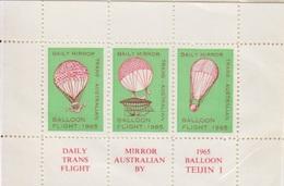 Vignette En Bloc De 3 Dentelée, Vol Trans Australien En Ballon Teijin 1 En 1965, Organisé Par Le Daily Mirror - Premiers Vols