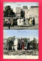 CPA (Ref : AA 880) TANGER (AFRIQUE -MAROC) Un Coin De La Ville - Promenade Dans Les Champs DOUBLE VUES - Tanger