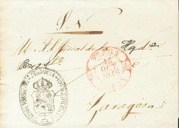 Sobre . 1846. FRAGA A ZARAGOZA. Baeza FRAGA / ARAGON, En Rojo Y Marca Del Juzgado. MAGNIFICA. - Unclassified