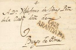 Sobre . 1825. OLMEDILLO DE ROA (BURGOS) A BURGO DE OSMA. Marca CªVª / ARANDA Dº, En Negro De Aranda De Duero  (P.E.5) Ed - Unclassified