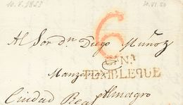 Sobre . 1833. VILLACAÑAS (TOLEDO) A ALMAGRO. MArca Cª.Nª. / TEMBLEQUE, En Rojo (P.E.1) Edición 2004. MAGNIFICA Y RARA. - Unclassified