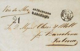 "Sobre . 1860. MARSELLA A PALMA DE MALLORCA. Marca ESTRANGERO / BARCELONA, En Negro (P.E.91) Edición 2004 Y Manuscrito ""V - Unclassified"