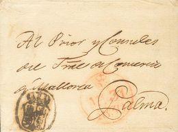 Sobre . 1830. MADRID A PALMA DE MALLORCA. Sello Negro (P.E.66) Edición 2004 Y Fechador De Madrid, En Rojo. MAGNIFICA. - Unclassified