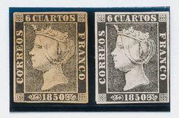 (*)1, 1A. 1850. Conjunto De Dos Sellos Del 6 Cuartos Negro Correspondientes Al Tipo I Y II, Aparentemente Nuevos. A EXAM - Unclassified
