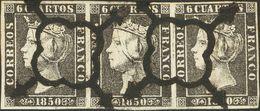 º1(3). 1850. 6 Cuartos Negro, Tira De Tres (I-14, 15, 16 Y Variedad De Cliché En La Esquina Del Cartucho Superior De La  - Unclassified