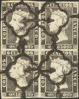 º1A(4). 1850. 6 Cuartos Negro, Bloque De Cuatro (II-26, 27 / 34, 35). MAGNIFICO Y RARO, ESPECIALMENTE EN ESTA EXCEPCIONA - Unclassified