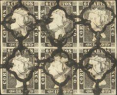 º1A(6). 1850. 6 Cuartos Negro, Bloque De Seis (II-30, 31, 25 / 38, 39, 33). Matasello ARAÑA, En Negro. MAGNIFICO Y RARO, - Unclassified