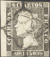 º1. 1850. 6 Cuartos Negro, Borde De Hoja. MAGNIFICO E IDEAL PARA POSICIONARLO EN LA HOJA. - Unclassified