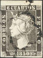 º1A. 1850. 6 Cuartos Negro, Borde De Hoja. MAGNIFICO E IDEAL PARA POSICIONARLO EN LA HOJA. - Unclassified