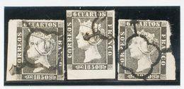 º1A(3). 1850. Extraordinario Conjunto De Tres Sellos Del 6 Cuartos Negro Todos Ellos Con Enormes Bordes De Hoja. MAGNIFI - Unclassified