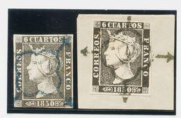 º1A(2). 1850. 6 Cuartos Negro, Dos Sellos (uno Sobre Fragmento), Inutilizados Con Matasello ARAÑA, En Azul Y En Negro-az - Unclassified