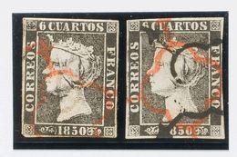 º1(2). 1850. Conjunto De Dos Sellos Del 6 Cuartos Negro Inutilizados Ambos Con El Matasello ARAÑA, En Negro Y Rojo (bico - Unclassified