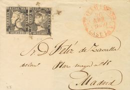 Sobre 1(2). 1850. 6 Cuartos Negro, Dos Sellos. SALAMANCA A MADRID. Matasello ARAÑA, En Negro. MAGNIFICA E INUSUAL DOBLE  - Unclassified