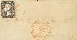 Sobre 1A. 1850. 6 Cuartos Negro. Frontal De TARAZONA (ZARAGOZA) A CALAHORRA. Matasello ARAÑA, En Rojo. MAGNIFICO Y RARIS - Unclassified