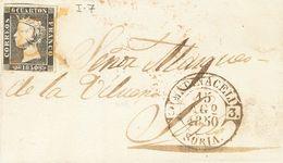 Sobre 1. 1850. 6 Cuartos Negro. MEDINACELI A SORIA. Matasello ARAÑA, En Tinta De Escribir Y En El Frente Baeza MEDINACEL - Unclassified
