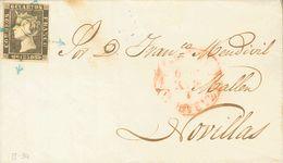 Sobre 1A. 1850. 6 Cuartos Negro. ZARAGOZA A NOVILLAS. Matasello ARAÑA, En Azul. MAGNIFICA Y ESPECTACULAR. - Unclassified