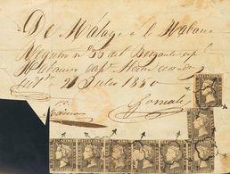 Sobre 1A(8). 1850. 6 Cuartos Negro, Dos Sellos Y Tira De Seis (algún Defectito Sin Importancia). Registro De Embarque De - Unclassified