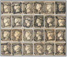 º1(24). 1850. Reconstrucción Completa De Los Veinticuatro Tipos Del 6 Cuartos Negro De La Plancha I, Inutilizados Con Ma - Unclassified