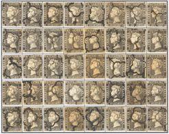º1A(40). 1840. Reconstrucción Completa Del 6 Cuartos Negro, Incluyendo Los Cuarenta Tipos De La Plancha II E Inutilizado - Unclassified