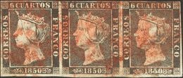 º1(3). 1850. 6 Cuartos Negro, Tira De Tres. Matasello Baeza, En Rojo. MAGNIFICA. - Unclassified