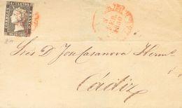 Sobre 1A. 1850. (5 De Febrero). 6 Cuartos Negro (II-3). MALAGA A CADIZ. Matasello Baeza MALAGA / ANDAL.B. MAGNIFICA Y EX - Unclassified