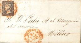 Sobre 1. 1850. 6 Cuartos Negro. OVIEDO A BILBAO. Matasello Baeza OVIEDO / ASTURIAS. MAGNIFICO Y RARO. - Unclassified
