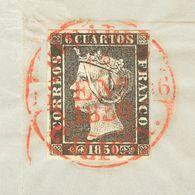 Fragmento 1. 1850. 6 Cuartos Negro, Sobre Fragmento. Matasello Baeza RIVADEO / GALICIA. MAGNIFICO. - Unclassified
