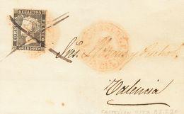 Sobre 1. 1850. 6 Cuartos Negro. CASTELLON A VALENCIA. Matasello Baeza CAST.D.L.P. / VALENCIA, En Rojo Y Trazos De Tinta  - Unclassified