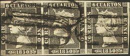 º1(3). 1850. 6 Cuartos Negro, Tira De Tres. Matasello PARRILLA DE MADRID. MAGNIFICA Y RARA TIRA DE TRES CON MATASELLO PR - Unclassified