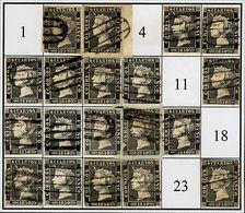 º1(19). 1850. Intento De Reconstrucción Con Veinte De Los Veinticuatro Tipos De La Plancha I, Inutilizado Con PARRILLA D - Unclassified