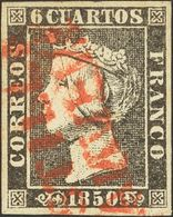 º1A. 1850. 6 Cuartos Negro. Matasello CASTILLA / LA NUEVA, En Rojo De Aranjuez. RARO Y MAGNIFICO. Cert. EXFIMA. - Unclassified