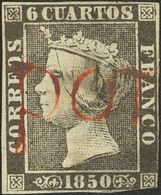 º1A. 1850. 6 Cuartos Negro. Matasello Prefilatélico POTES, En Rojo, Pequeño Defecto. RARISIMO. - Unclassified
