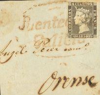 Fragmento 1A. 1850. 6 Cuartos Negro, Sobre Fragmento (pequeño Defecto Sin Importancia). Matasello PUENTEAREAS / GALICIA, - Unclassified