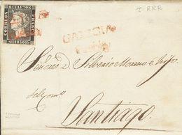 Sobre 1. 1850. 6 Cuartos Negro (I-8). PUEBLA (CORUÑA) A SANTIAGO. Matasello Prefilatélico GALICIA / PUEBLA. MAGNIFICA Y  - Unclassified