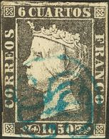 º1. 1850. 6 Cuartos Negro (I-4). Matasello ANAGRAMA DE BURGOS, En Azul. MAGNIFICO Y MUY RARO. Cert. COMEX. - Unclassified