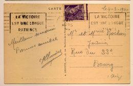 Flamme La Victoire Est Une Longue Patience Paris 1940 Mercure - Postmark Collection (Covers)