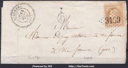 FRANCE EMPIRE N° 28A SUR LETTRE POUR VIC FEZENSAC GC 3139 RIGUEPEU GERS + CAD PERLÉ DU 30/07/1860 - 1863-1870 Napoleon III With Laurels