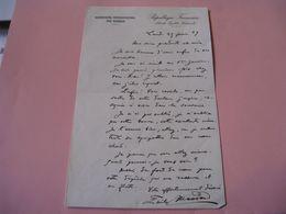 LETTRE AUTOGRAPHE SIGNEE D'EMILE MASSARD 1929 SOCIALISME BOULANGISME PARIS à LA BARONNE DE BAYE - Autografi