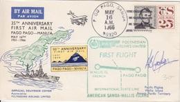 35° Ann. Du 1°Vol Pago Pago-Manu'a, Obl. Pago Pago Le 16 May 66 + Signature Et Vignette Et Cachet Pour Wallis - Samoa Américaine