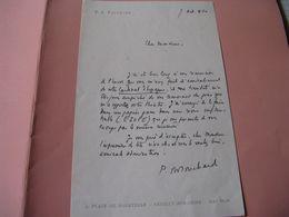 LETTRE AUTOGRAPHE SIGNEE DE PIERRE-AIME TOUCHARD 1960 RESISTANT ECRIVAIN COMEDIE-FRANCAISE à MONTHERLANT - Autografi