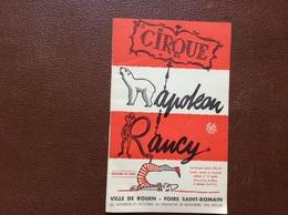 PROGRAMME CIRQUE  CIRQUE NAPOLEON RANCY  Ville De Rouen  FOIRE SAINT-ROMAIN  Année 1955 - Programme