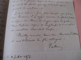 LETTRE AUTOGRAPHE SIGNEE D'AUGUSTE DE TALHOUET-ROY 1854 DEPUTE SARTHE MINISTRE TRAVAUX 1870 INGENERIE - Autografi