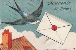 CPA:À SYSTÈME SOUVENIR DE REIMS (51) HIRONDELLE LETTRE - Reims