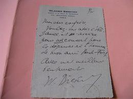 LETTRE AUTOGRAPHE SIGNEE DE WLADIMIR BIENSTOCK 1920 ECRIVAIN TRADUCTEUR RUSSE CURNONSKY PAUL FORT - Autografi